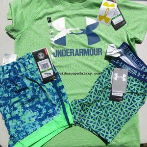 Under Armour Girls Large Fitted Shorts, T-shirt +